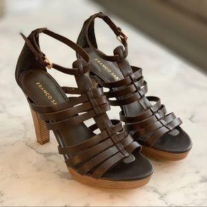 Franco Sarto | Leather Strappy Sandal w/ Wood Heel